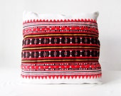 Vintage Traditional Romanian Hand Woven Rustic Pillow Cover 14 x14 , white, red, orange, red bohemian pillow cover, kilim pillow cover