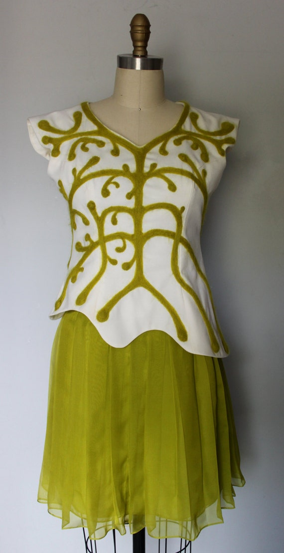 Cream Top with Chartreuse 3D Applique and Pleated Chartreuse Skirt