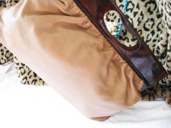 Cowhide Leather Clutch Handbag Purse - TORTOISE Lucite Handle - MOCHA Chocolate - Like NEW - 1970's-80's - Genuine Justin