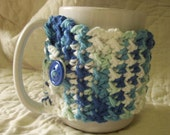 Crocheted Coffee Cozy / Mug Warmer in Shaded Blue and White