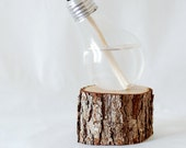 Recycled Light Bulb Oil Lamp Handmade Wedding Decor Lamp on Medium Natural Oak Base, Aluminum top, 12-034