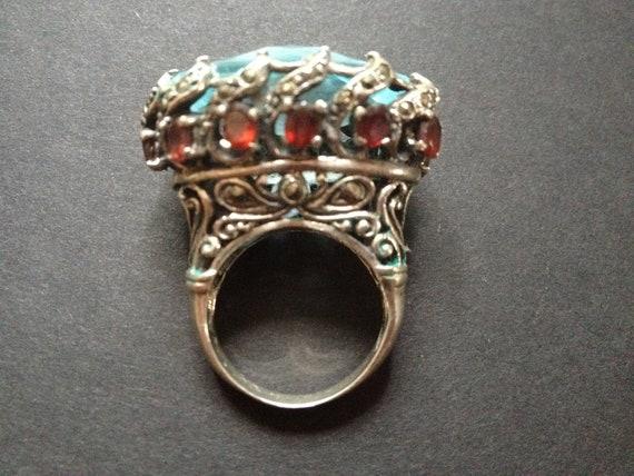 RESERVED: Huge Sterling Garnet & Aquamarine Ring