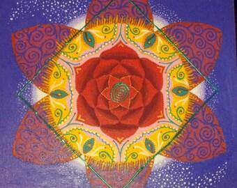 "Original Mandala, Acrilic Painting, Romantic Flame, 15.5"" Canvas, Signed by Artist, Inspiring COLORFUL, Wall Decor, Spiritual Art, New Age"