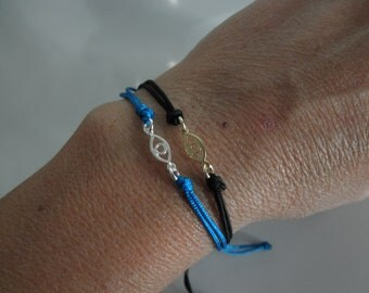 Evil eye friendship bracelet sterling silver or vermeil