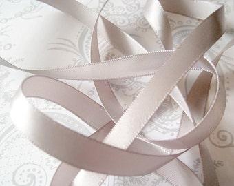 Silver Gray Satin Ribbon 3/8 -- 3 yards -- Grey -- 9.5mm