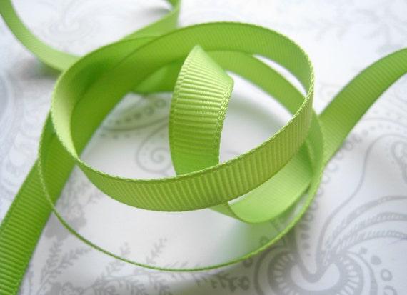Lime Green Grosgrain Ribbon 3/8 -- 9 yards -- American Crafts -- Leaf -- 58445