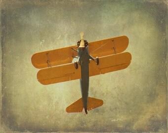 Airplane Art Print - Vintage Nursery Boy Room Home Decor Yellow Blue Gray Biplane Aviation Flying Photo