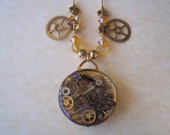 Steampunk Pocket Watch Necklace With Octopus,Gears and Swarovski Crystals-Unique!