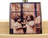 Resin Pendant, Christmas Angels, Holidays, White, Black, Sepia, 1 1/2 inch, Square, Antique Bronze, For her