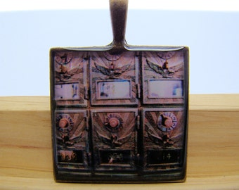 Photo Pendant, Resin Pendant, Vintage Post Office Boxes, Brown, Beige, 1 Inch, Square