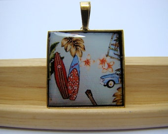 Resin Pendant, Surf Boards, Red, Blue, White, Yellow, 1 inch, Square, Beach, Resort