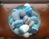 Beautiful Hand Felted Pebbles: embellished with hand stitching