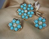1960's Pin and Earring Sarah Coventry Blue and Pear Flower Set
