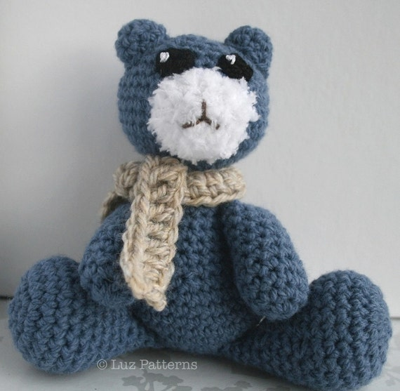 Crochet Amigurumi Bear Patterns : Crochet pattern denim teddy bear amigurumi pattern by ...