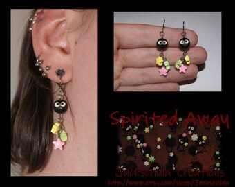 Spirited Away or My Neighbor Totoro Soot Ball Sprite Earrings