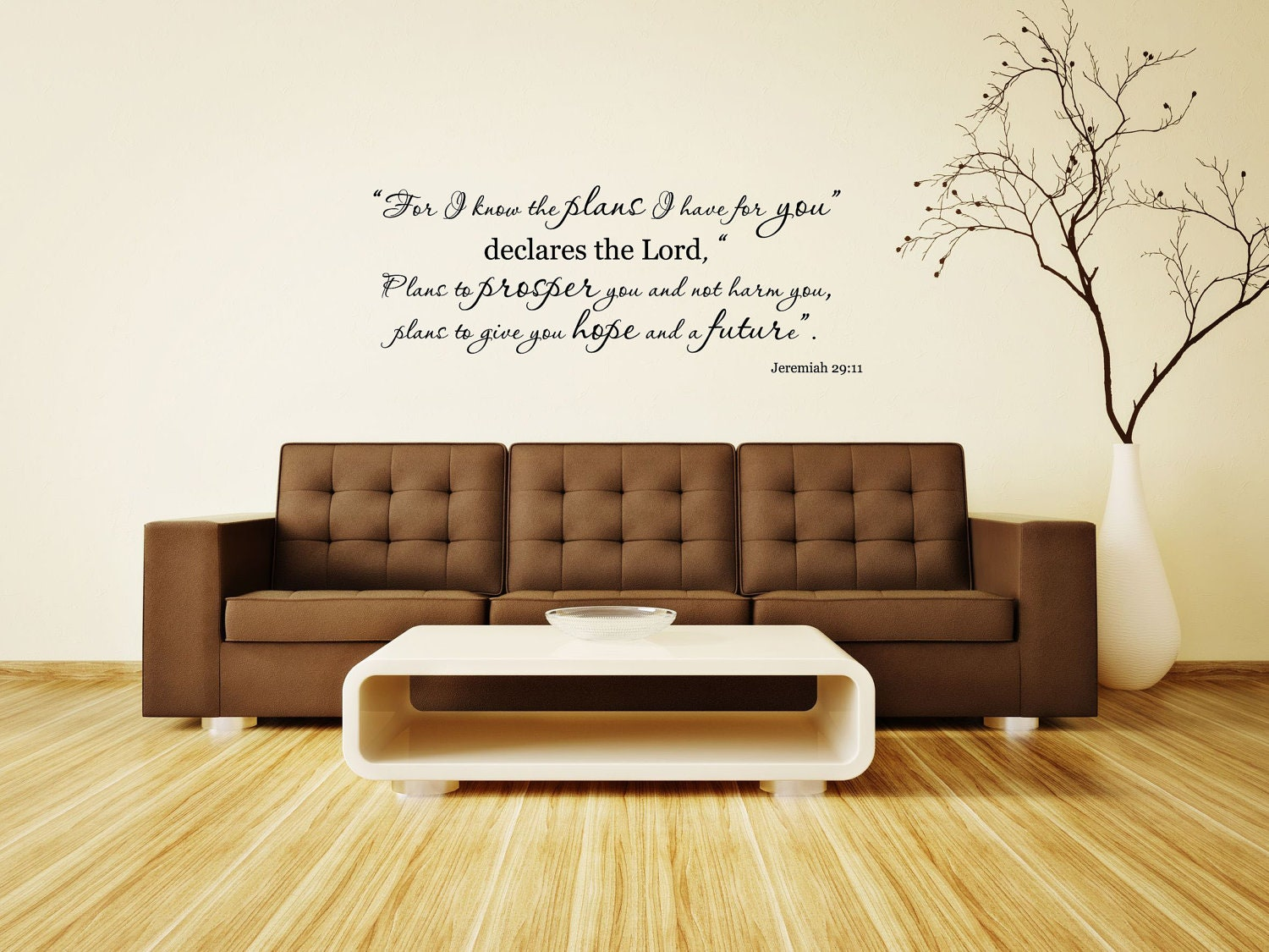 Jeremiah 29:11 Bible Verse Vinyl Wall Decal...For I know the