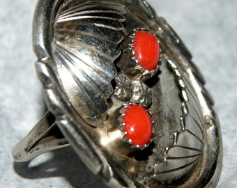 PAWN HOPI CORAL Ring Sterling c1970