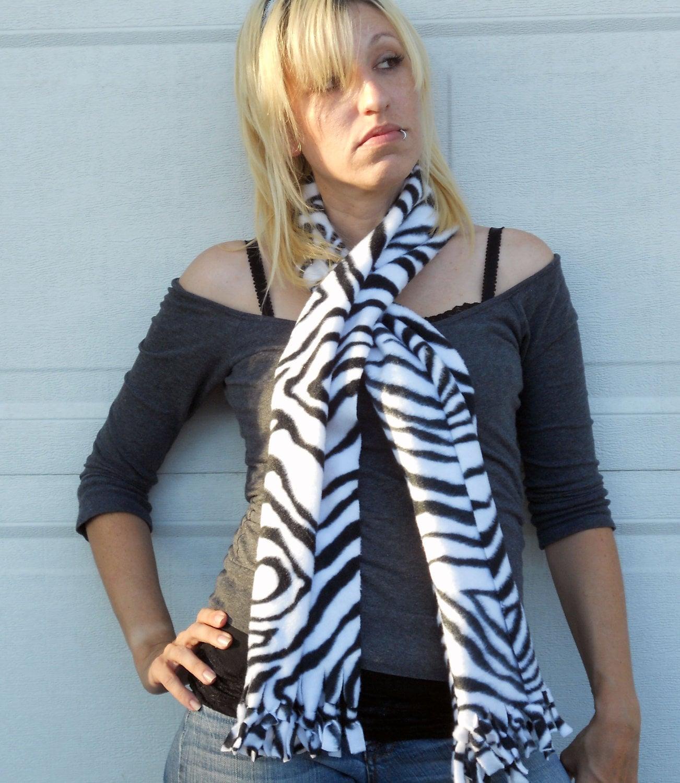 scarf fleece no sew scarf neck warmer in zebra print