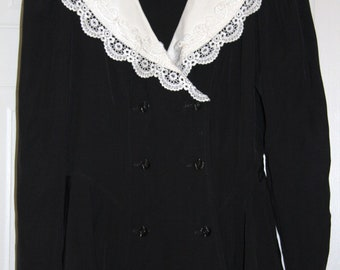 Vintage Black and White Blouse by Algo-Ettes -size 7