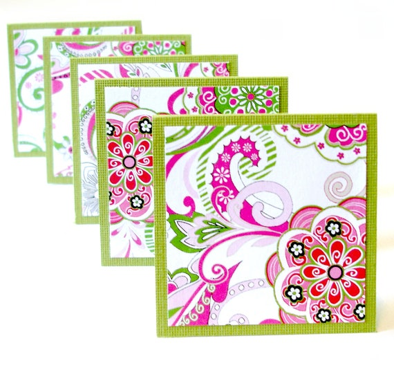 Flourish mini note cards lunchbox notes moire fleur floral Set of 8 handmade mini cards with glassine pocket envelopes
