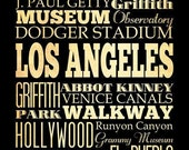 Los Angeles, California, Typography Art Poster / Bus/ Transit / Subway Roll Art 18X24-Los Angeles' Attractions Wall Art Decoration-LHA-207
