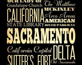 Sacramento, California, Typography Art Poster / Bus/ Transit / Subway Roll Art 18X24-Sacramento's Attractions Wall Art Decoration -  LHA-20
