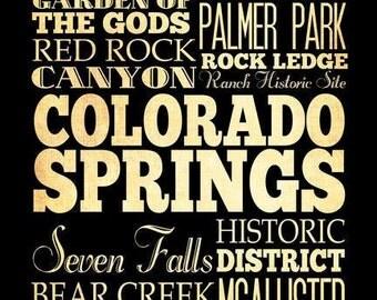 Colarado Springs, Colorado, Typography Art Poster / Bus/ Transit / SubwayRollArt18X24-ColaradoSprings' AttractionsWallArtDecoration-LHA-213