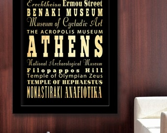 Gigantic Typography Art Poster of Athens, Greece - Subway Roll Art 40X55 - Athens' Attractions Wall Art Decoration -  LHA-230
