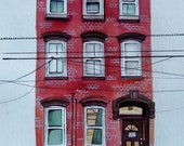 """11x14"""" House Portrait of a Red Brick New Jersey Row Home- Watercolor Portrait"""