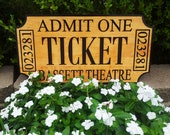 """Large 13"""" x 24"""" Custom Movie Ticket Home Theatre Theater Sign with Family Name - DEEPLY CARVED"""