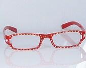 Orange Dot Handpainted Reading Glasses. 225 Strength Hand Painted Reading Glasses. Red Eyeglass Frames