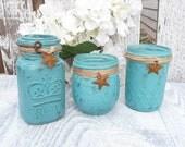 RUSTIC TURQUOISE JARS - Set of 3 Shabby Chic Jars and Stars