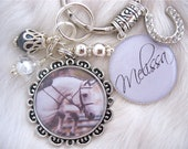 Personalized Photo Pendant Horse Bezel Keychain, Jewelry, charm,  Equestrian, riding, Gift Present, Mother Kids, Show horse, Autumn Fall