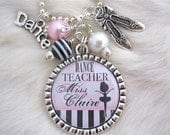 Dance TEACHER GIFT Personalized Bottle cap pendant Necklace Keychain Tap Jazz Dance Ballroom Teacher appreciation Pink  - Great Gifts for Dance Teachers - Etsy Finds