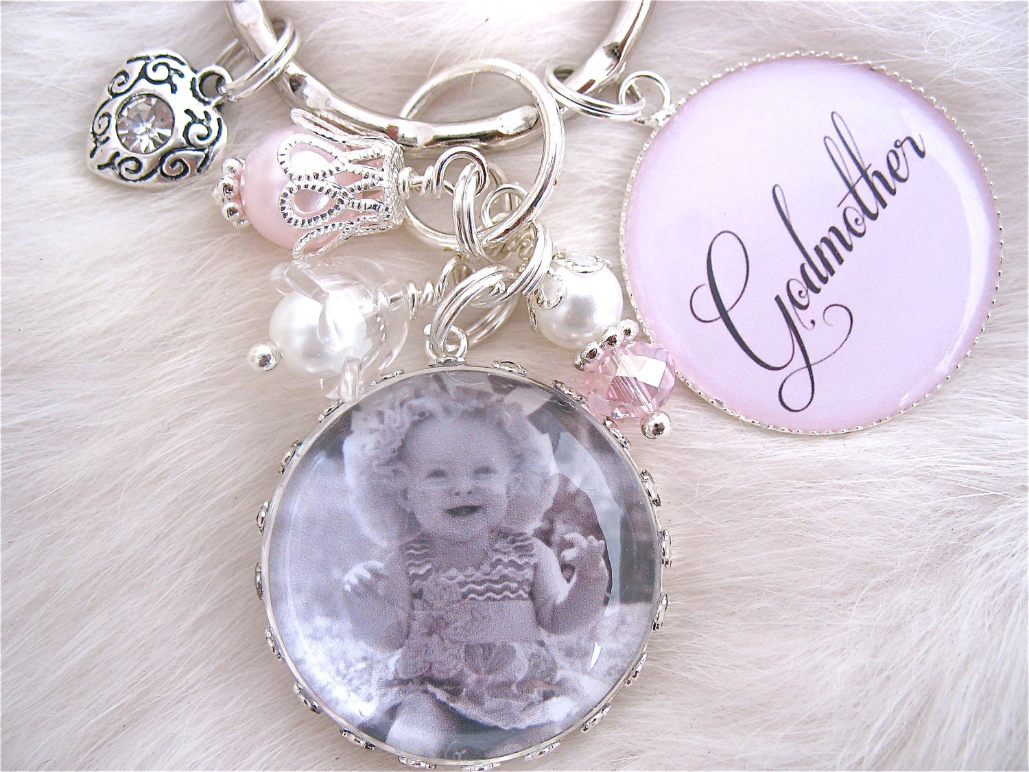 Godparent Keychain Gift For Godparents Gift For: GODMOTHER GIFT Baptism Gift Photo Pendant Keychain Necklace