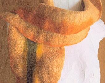 Orange ruffle felt scarf, nature dyed, floral
