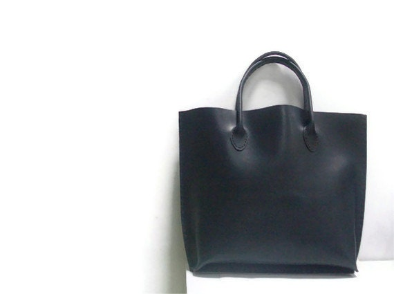 Black Tote Bag Black Leather Tote Bag Hand