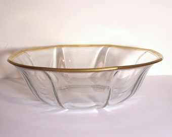 GOLD RIMMED BOWL - Large 8 Sided Glass Bowl - Beautiful Vintage Decorative or Serving Piece - Wedding Gift