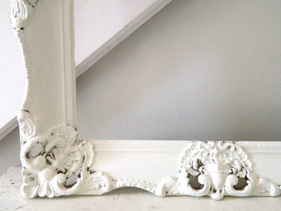 Vintage Shabby Chic Frame White Wooden Large Ornate