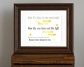 Sweet Beatles Nursery Art Print - yellow and gray nursery decor - Good Night lyrics, lullaby, dream, sleep, star - baby shower gift - 8 x 10