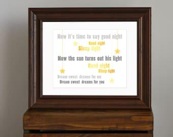 Sweet Beatles Nursery Art Print - yellow and gray nursery decor - Good Night lyrics, lullaby, dream, sleep, star - baby shower gift - 8 x 10