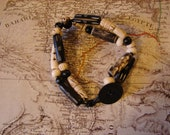Bracelet Black and White Bone Bead and Leather Tribal Design