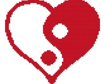 Cross Stitch Kit 'Ying Yang Heart' - Custom Made
