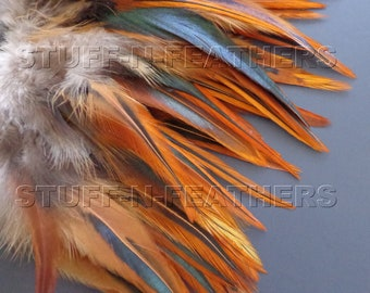 Natural Rooster SADDLE feathers - FURNACE brown for millinery, crafts, jewelry making, hair accessories, fishing /4-6 in (10-15cm) long/ F90