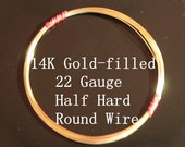 22 g ga Gauge 14k Gold-Filled Wire - Round - Half Hard - sold by 2.5 feet increments (RW2201GF)