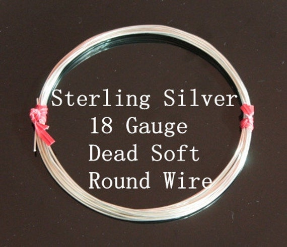 18 g ga Gauge Sterling Silver Wire - Round - Dead Soft - sold by 3 feet increments (RW1802SS)