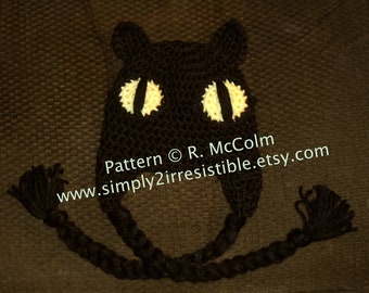 Black Cat Hat Pattern - Crochet Pattern 9 - Beanie and Earflap Pattern - us and uk Terms Available - Newborn to Adult - INSTANT DOWNLOAD