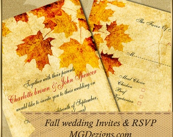 PRINTABLE Wedding Invitation Template, Fall Wedding Invitations, Rustic Wedding Invitation Templates, Invitation Template, Printable Invites