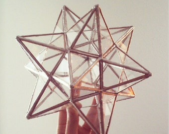 12 pointed stained glass star - ornament - christmas tree topper - eco friendly