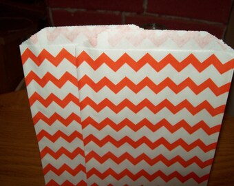 Chevron Orange Middy Bitty Treat, Favor, Party, Bags Set of 20